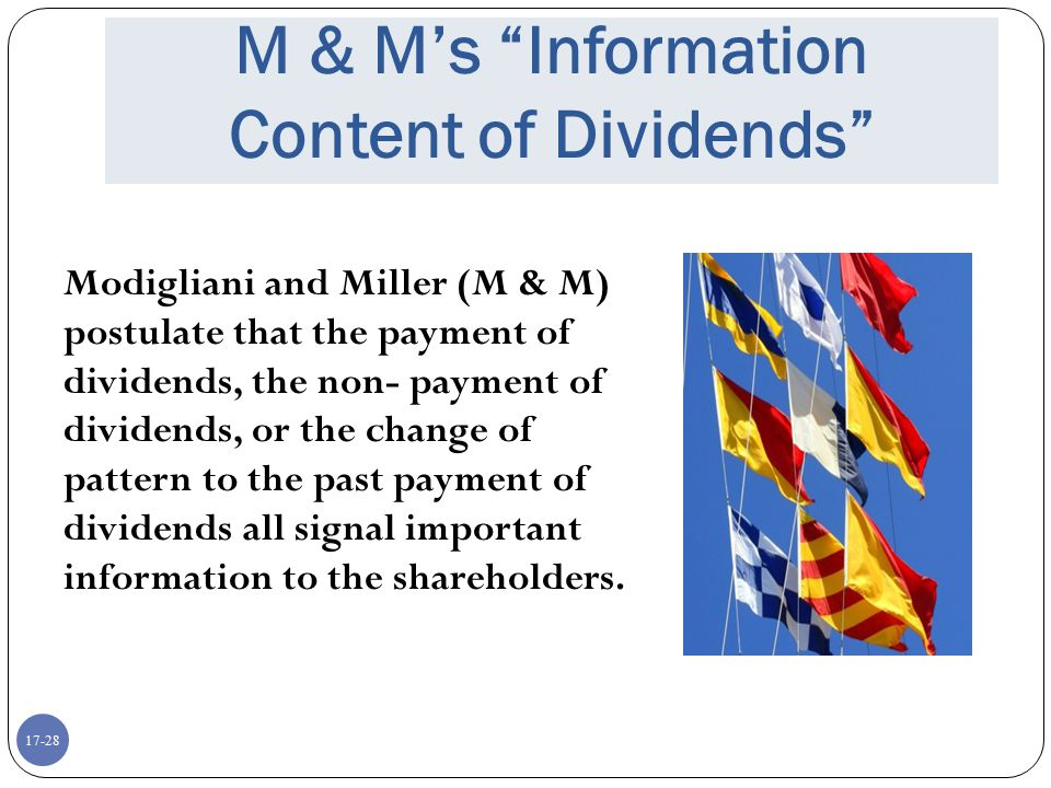 M & M's Information Content of Dividends