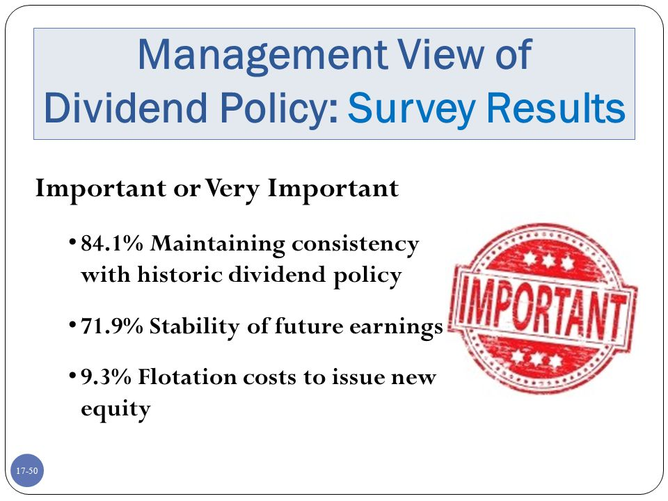 Management View of Dividend Policy: Survey Results
