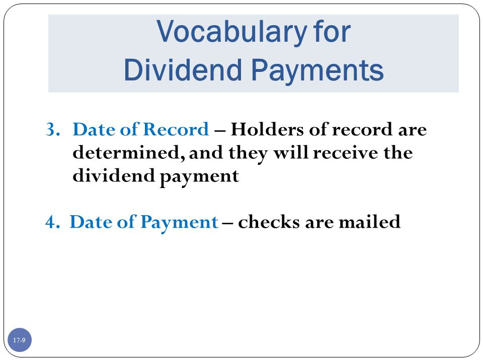 Vocabulary for Dividend Payments