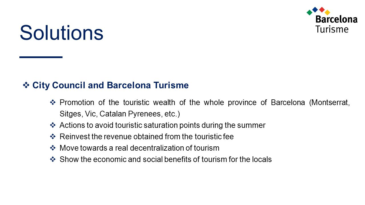 Solutions City Council and Barcelona Turisme