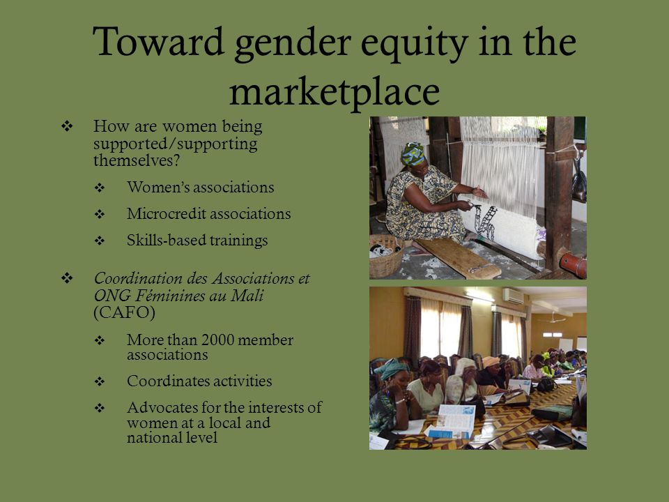 Toward gender equity in the marketplace