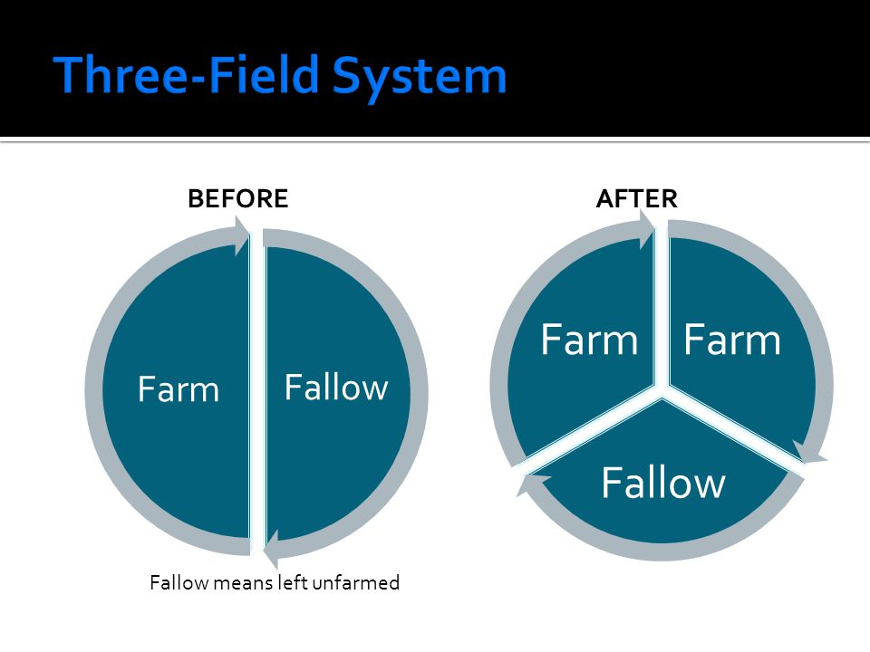 Three-Field System Before After Fallow means left unfarmed Fallow Farm