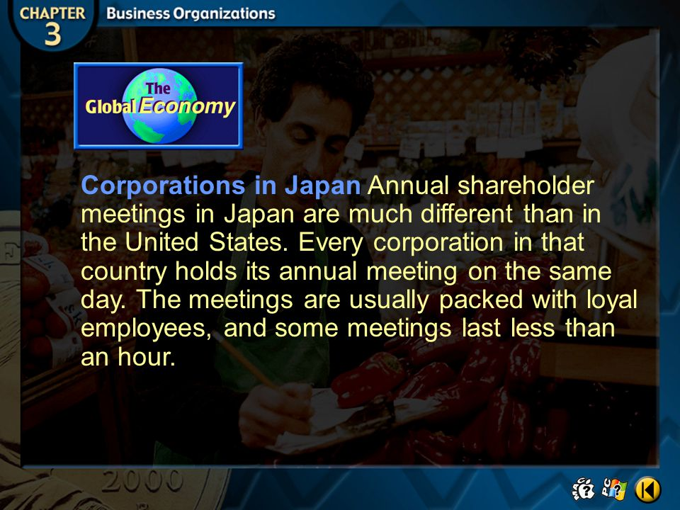 Corporations in Japan Annual shareholder meetings in Japan are much different than in the United States. Every corporation in that country holds its annual meeting on the same day. The meetings are usually packed with loyal employees, and some meetings last less than an hour.
