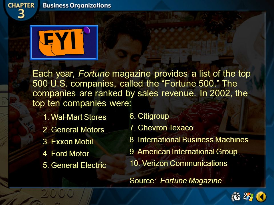 Each year, Fortune magazine provides a list of the top 500 U. S