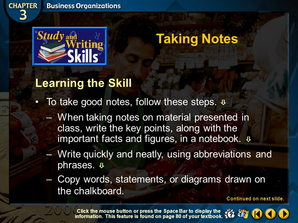 Taking Notes Learning the Skill