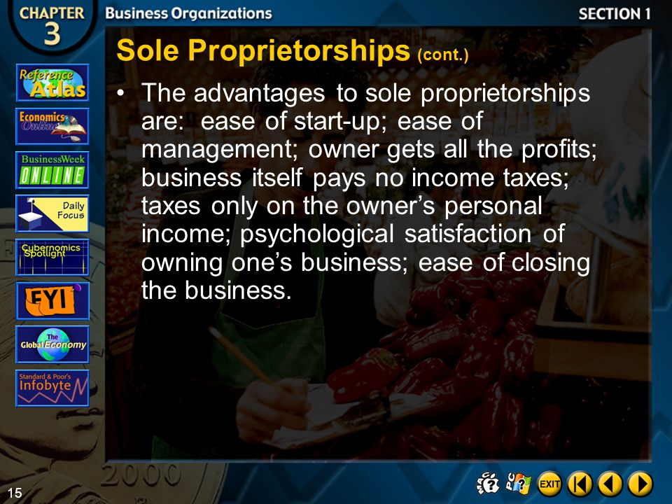 Sole Proprietorships (cont.)