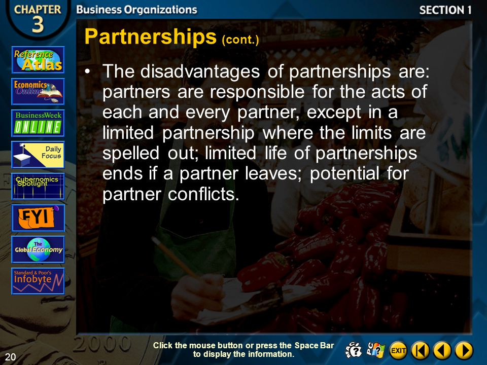 Partnerships (cont.)