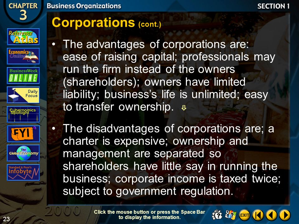 Corporations (cont.)