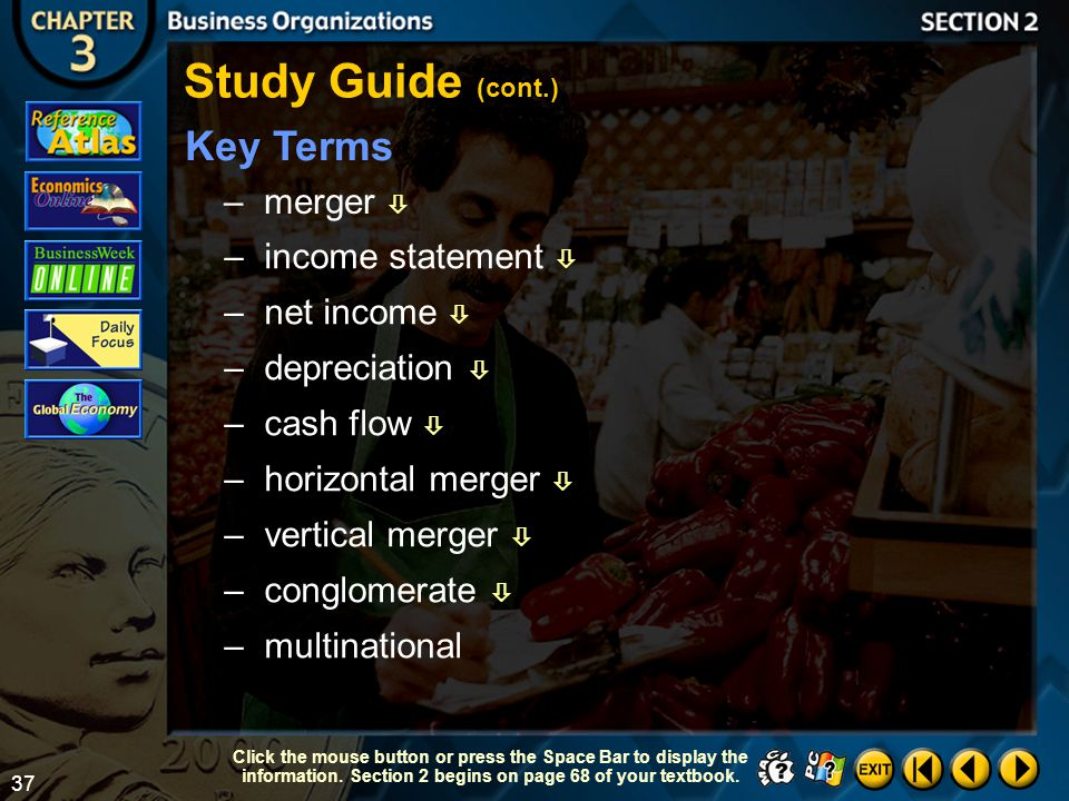 Study Guide (cont.) Key Terms merger  income statement  net income 