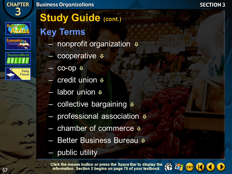 Study Guide (cont.) Key Terms nonprofit organization  cooperative 