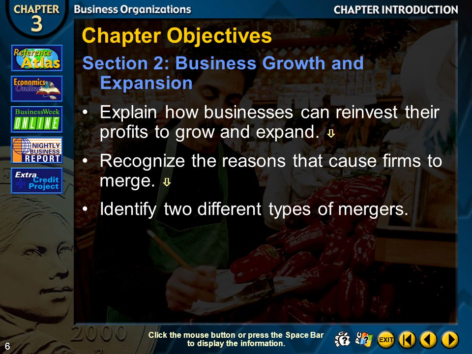 Chapter Objectives Section 2: Business Growth and Expansion