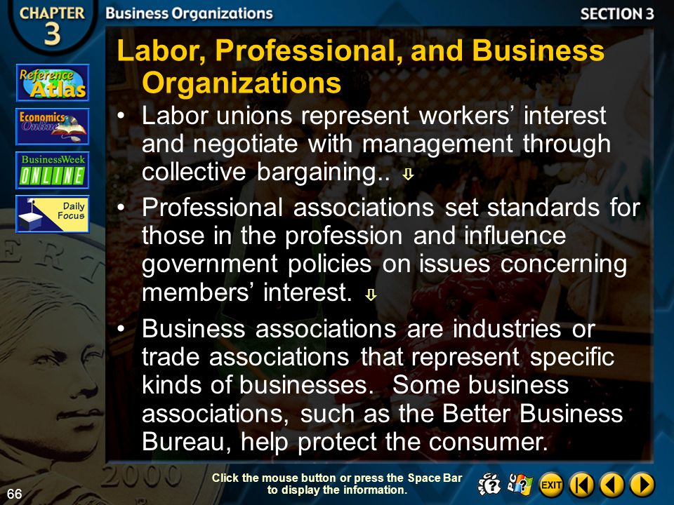 Labor, Professional, and Business Organizations