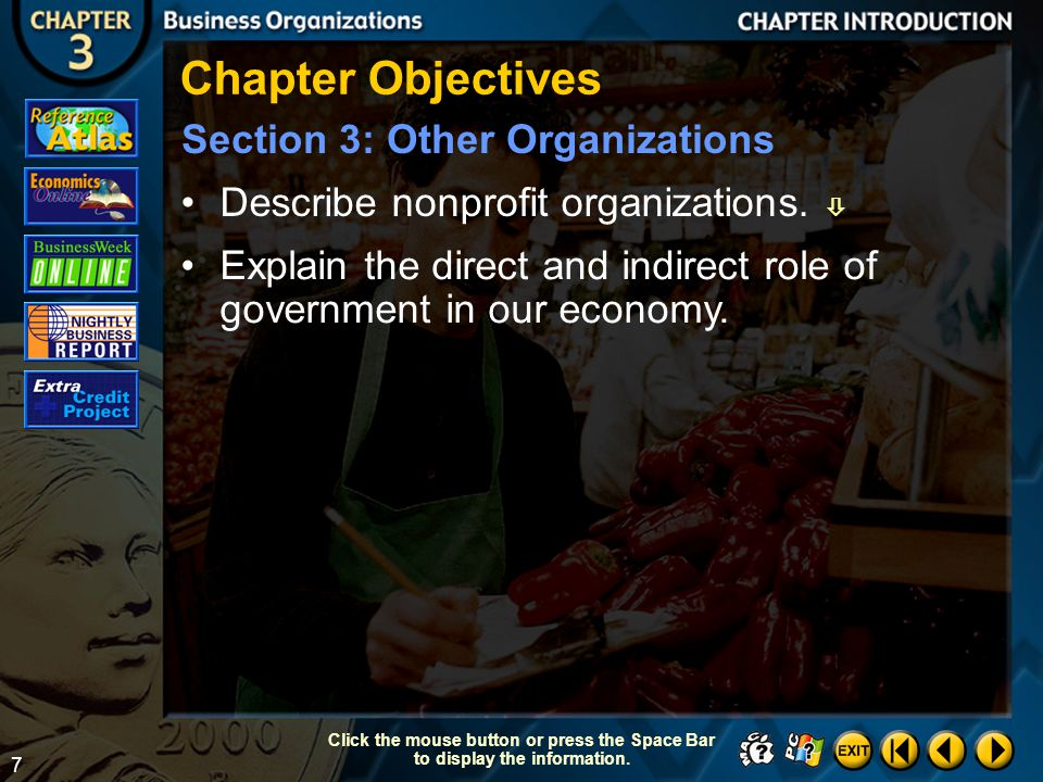 Chapter Objectives Section 3: Other Organizations