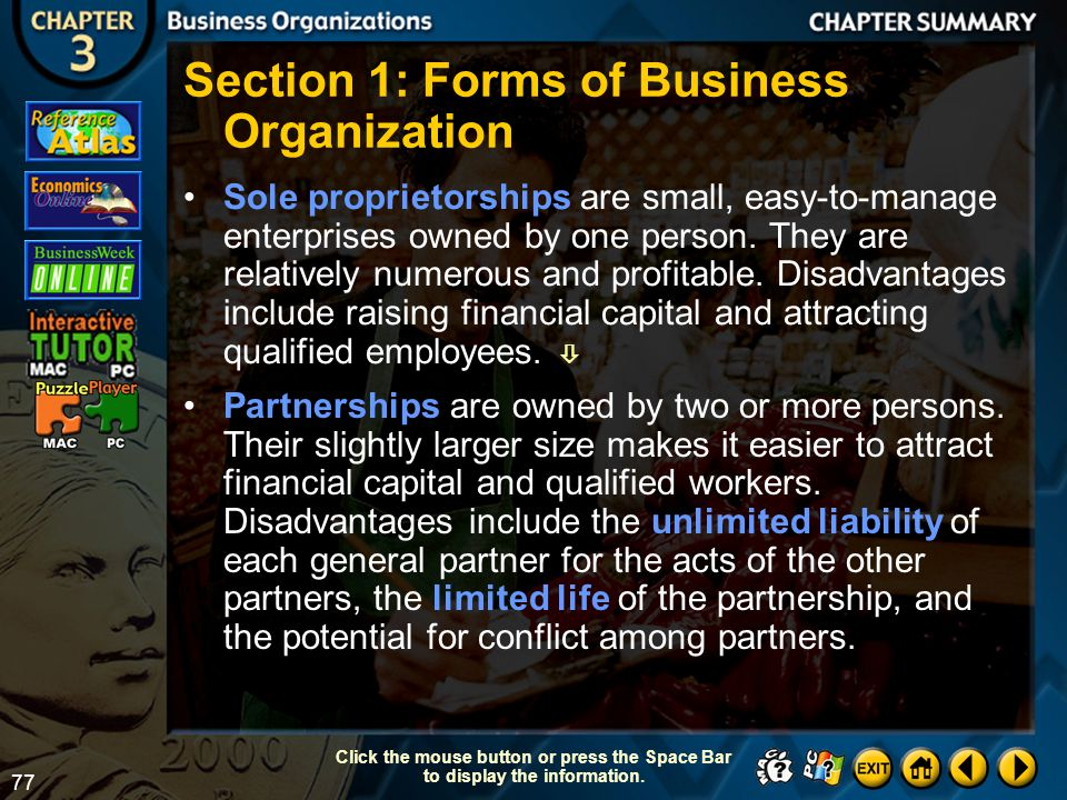 Section 1: Forms of Business Organization