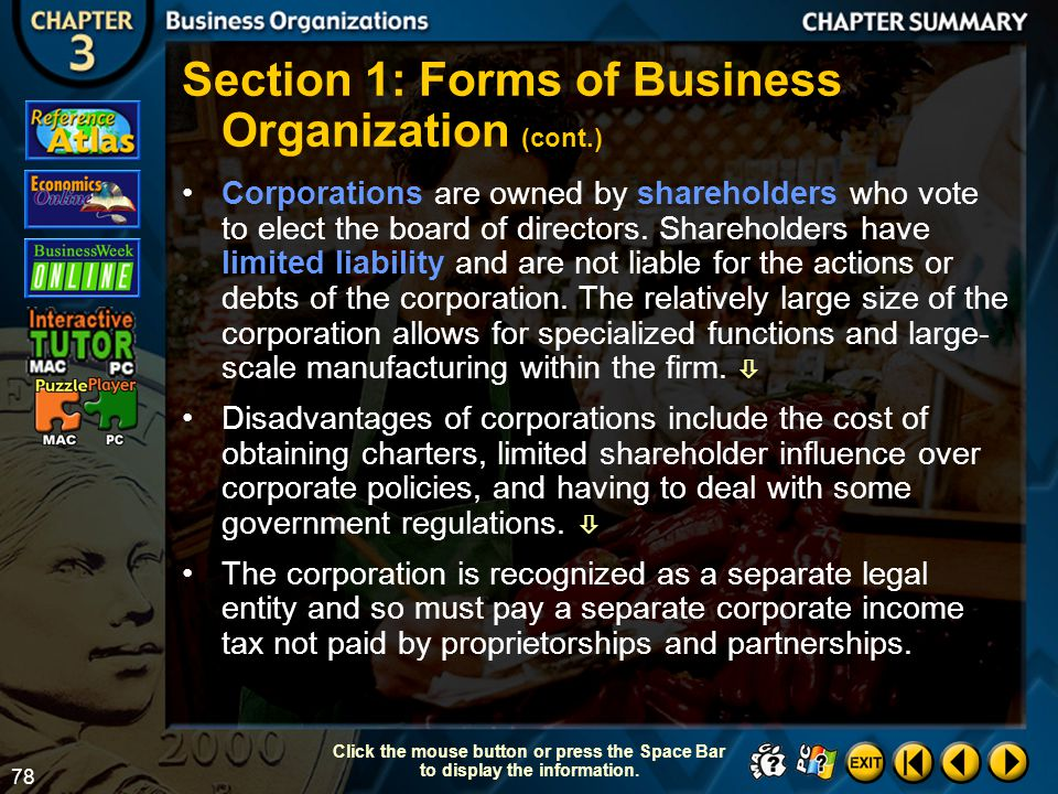 Section 1: Forms of Business Organization (cont.)