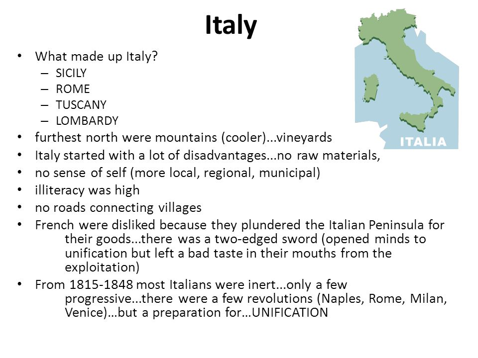 Italy What made up Italy