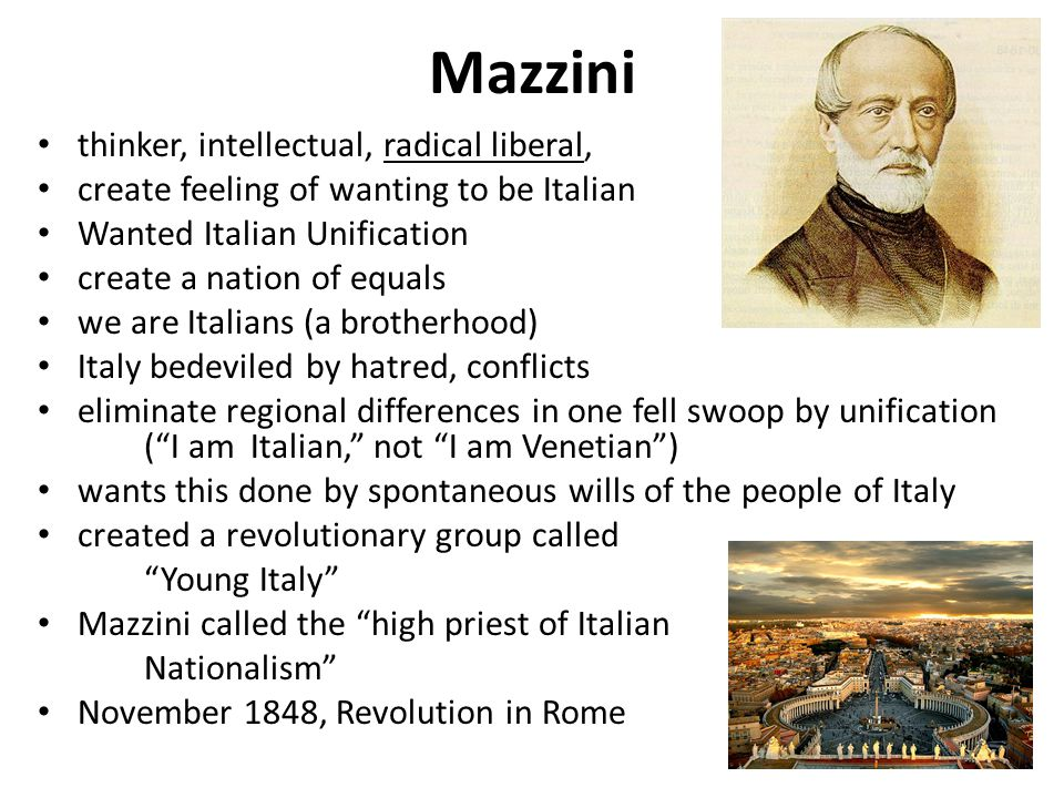 Mazzini thinker, intellectual, radical liberal,