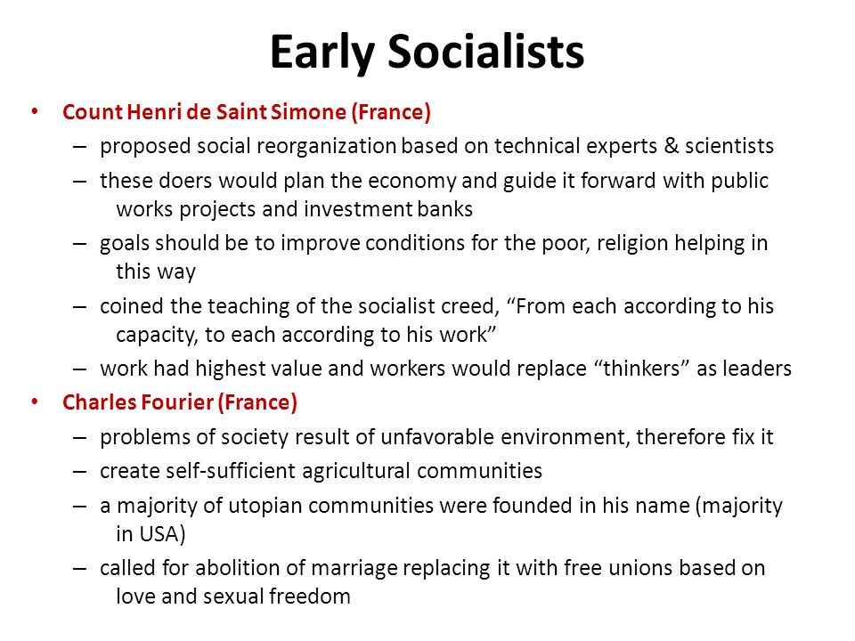 Early Socialists Count Henri de Saint Simone (France)