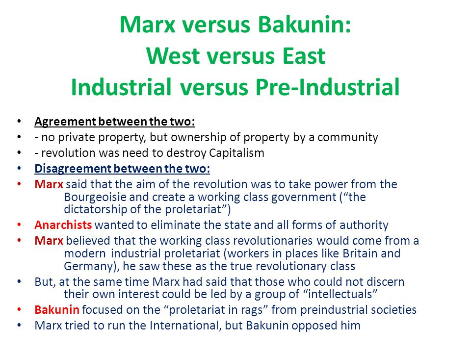Marx versus Bakunin: West versus East Industrial versus Pre-Industrial