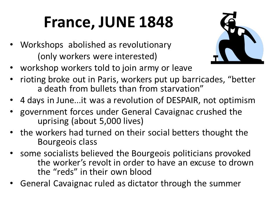 France, JUNE 1848 Workshops abolished as revolutionary