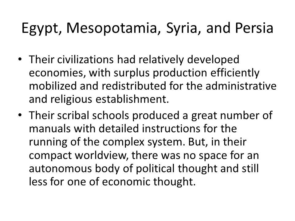 Egypt, Mesopotamia, Syria, and Persia
