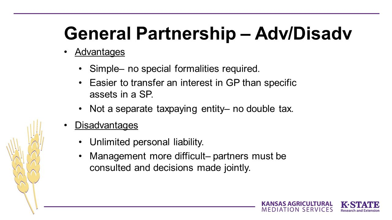 General Partnership – Adv/Disadv