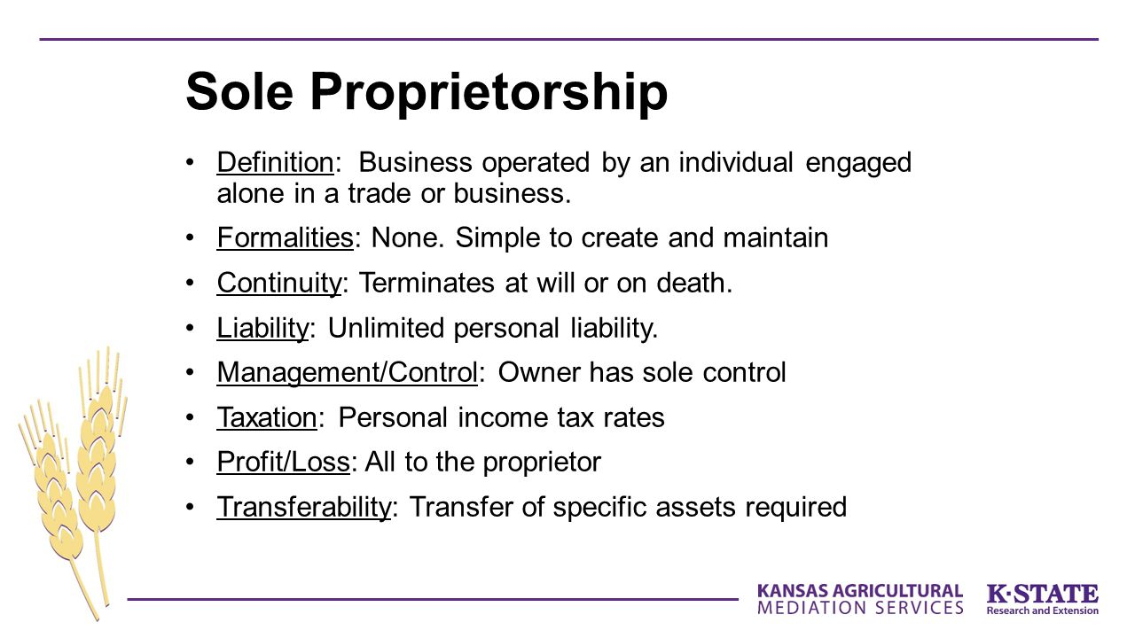 Sole Proprietorship Definition: Business operated by an individual engaged alone in a trade or business.