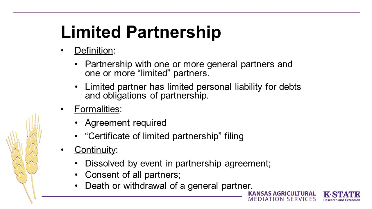Limited Partnership Definition: