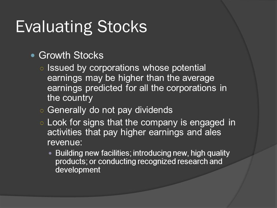 Evaluating Stocks Growth Stocks