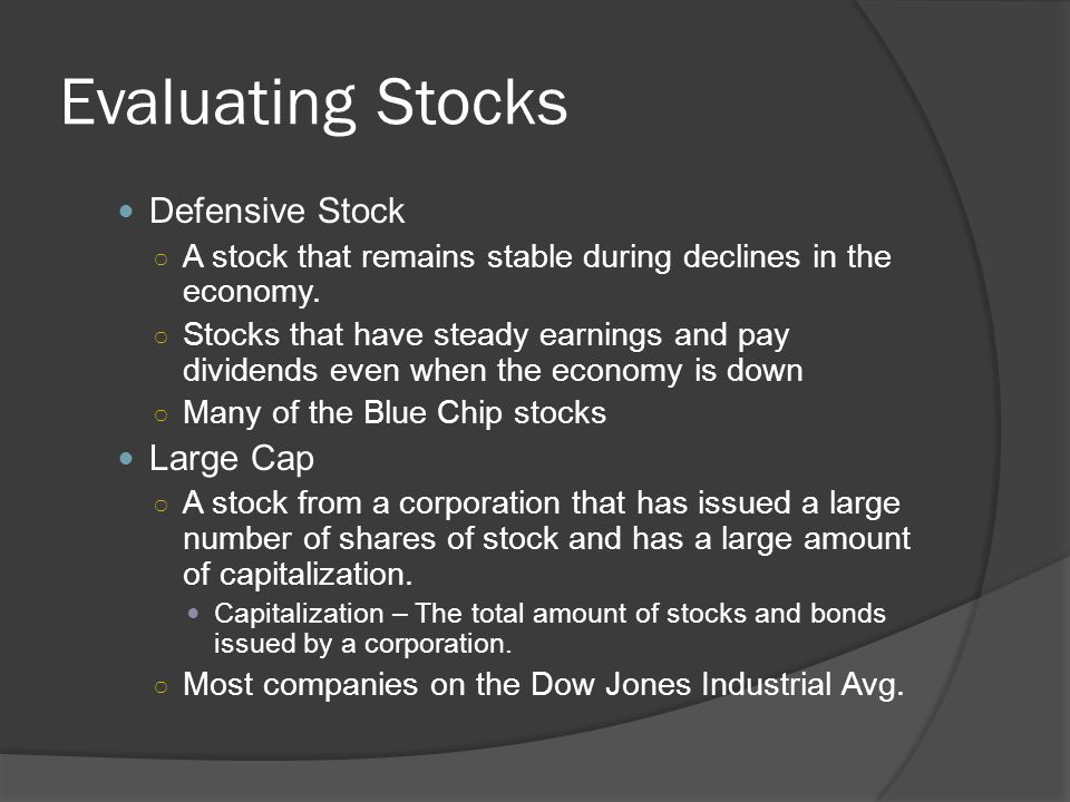 Evaluating Stocks Defensive Stock Large Cap