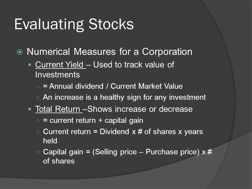 Evaluating Stocks Numerical Measures for a Corporation