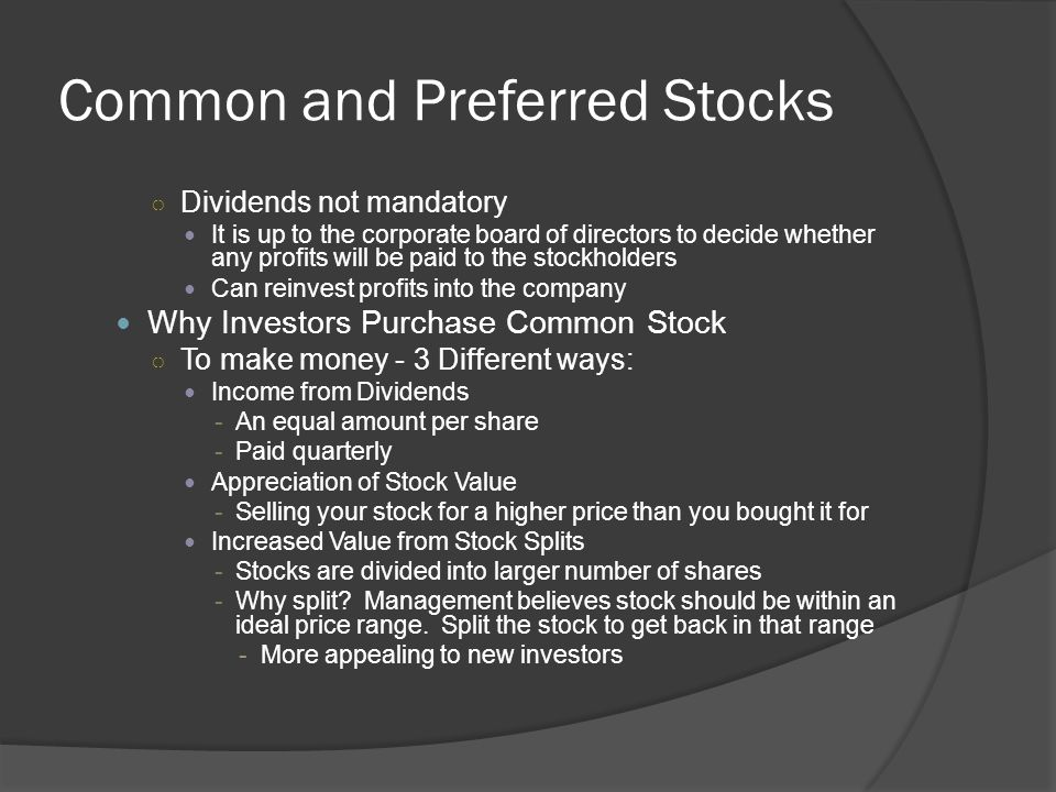 Common and Preferred Stocks