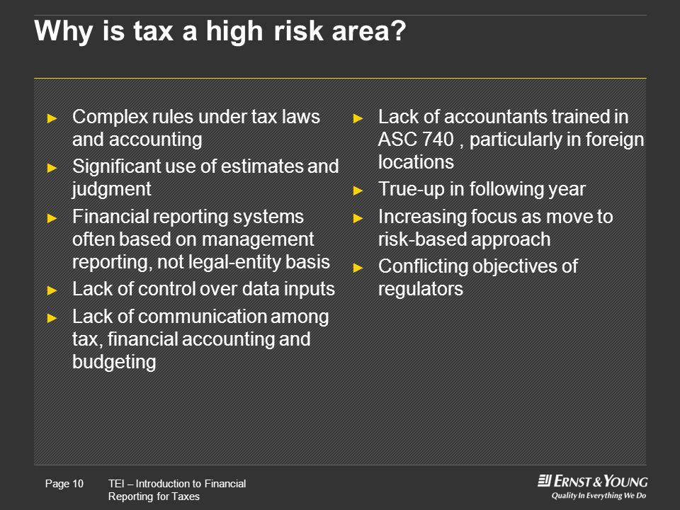 Why is tax a high risk area