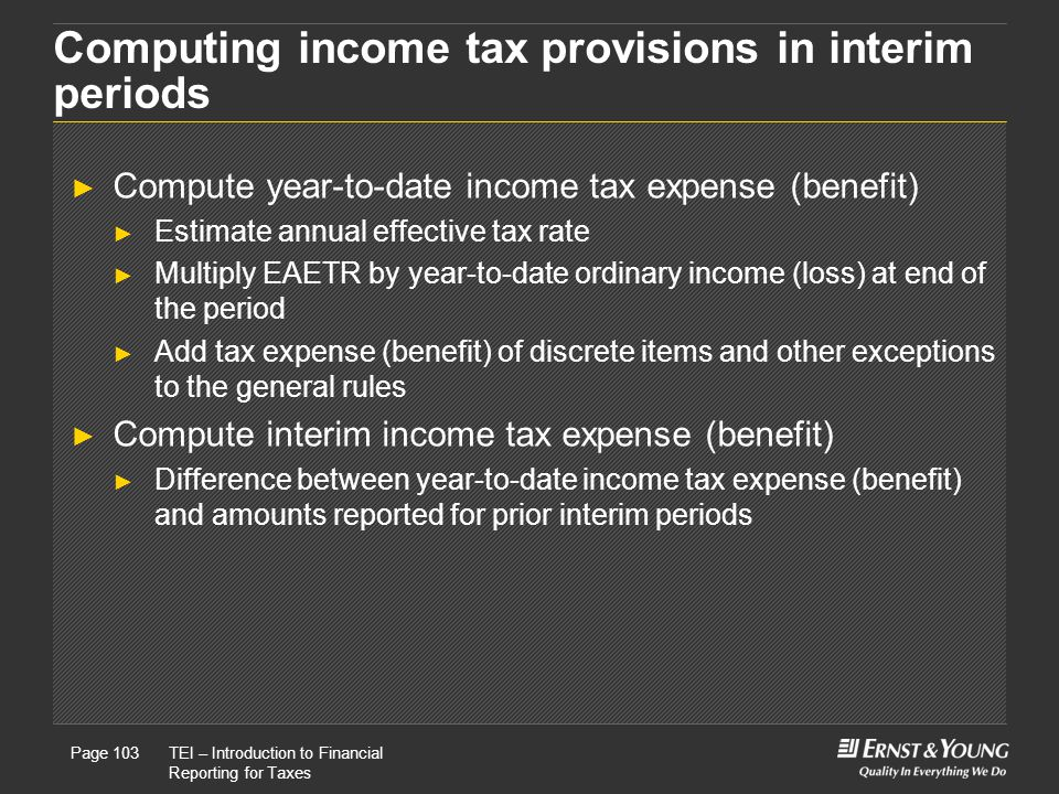 Computing income tax provisions in interim periods