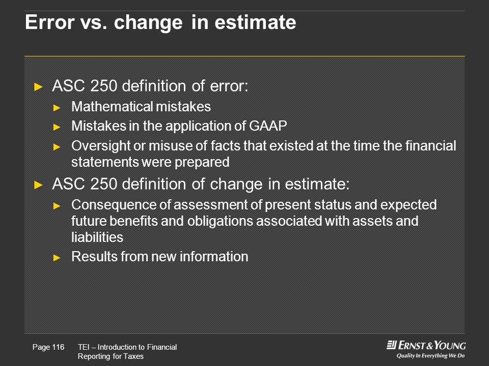 Error vs. change in estimate