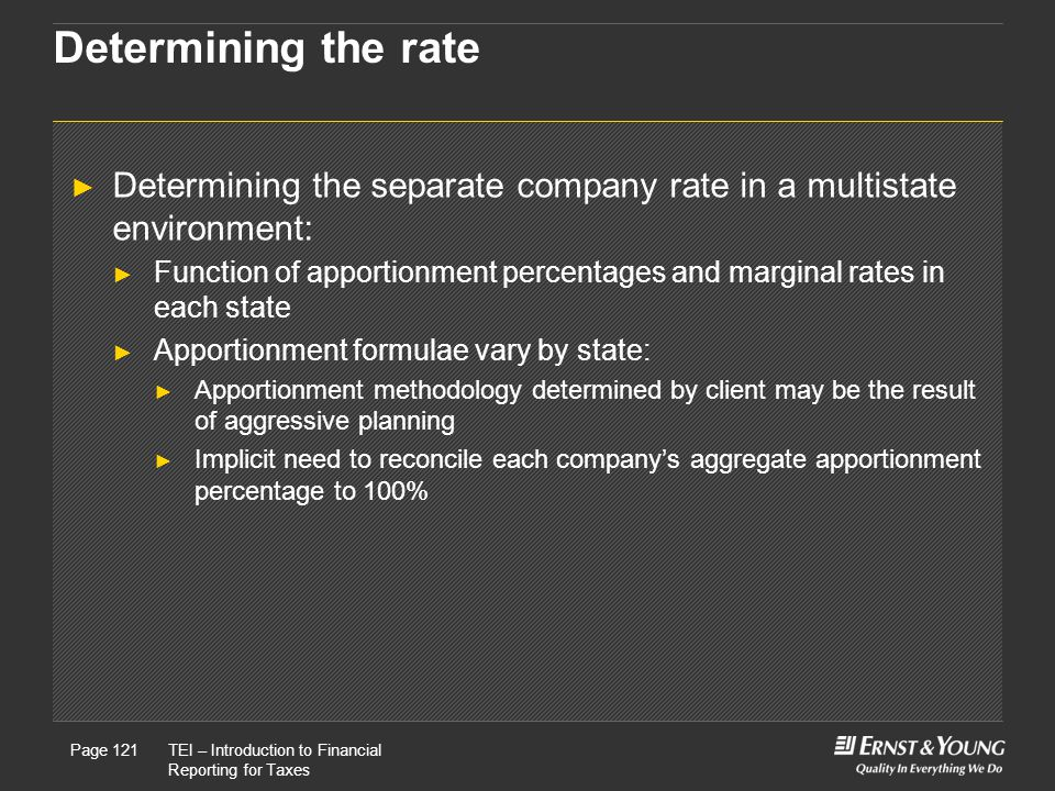 Determining the rate Determining the separate company rate in a multistate environment:
