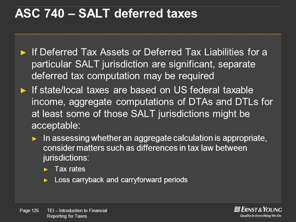 ASC 740 – SALT deferred taxes