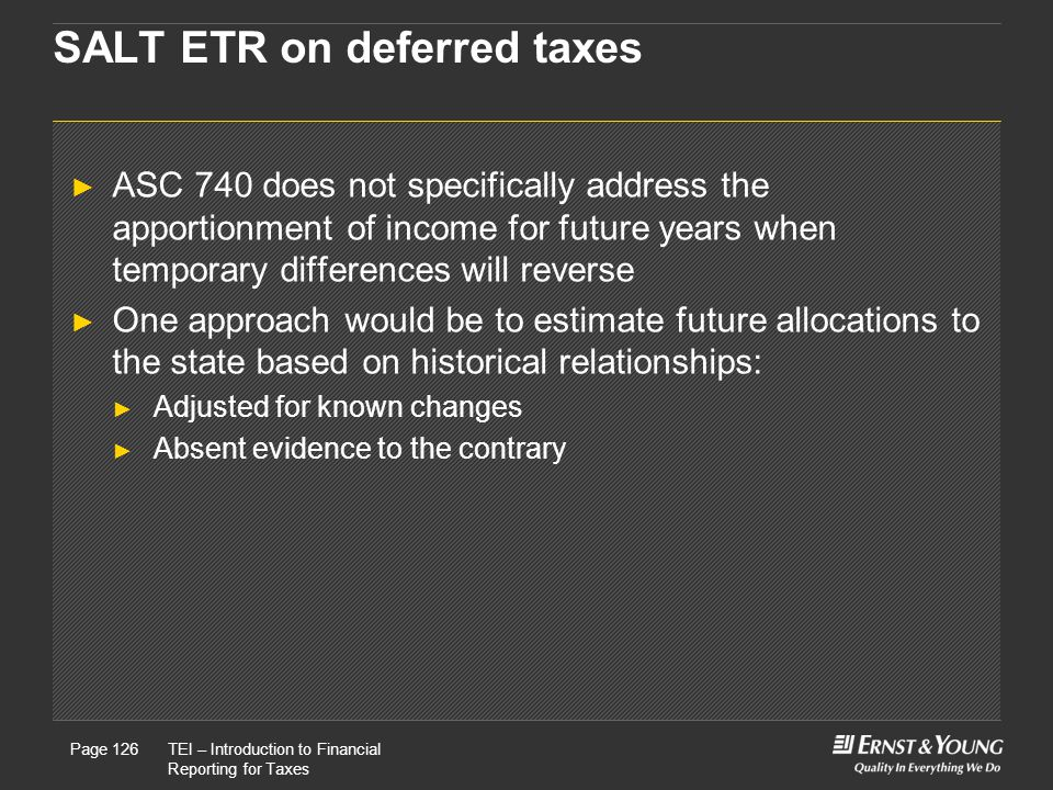 SALT ETR on deferred taxes