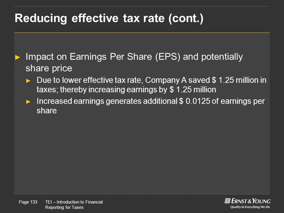 Reducing effective tax rate (cont.)