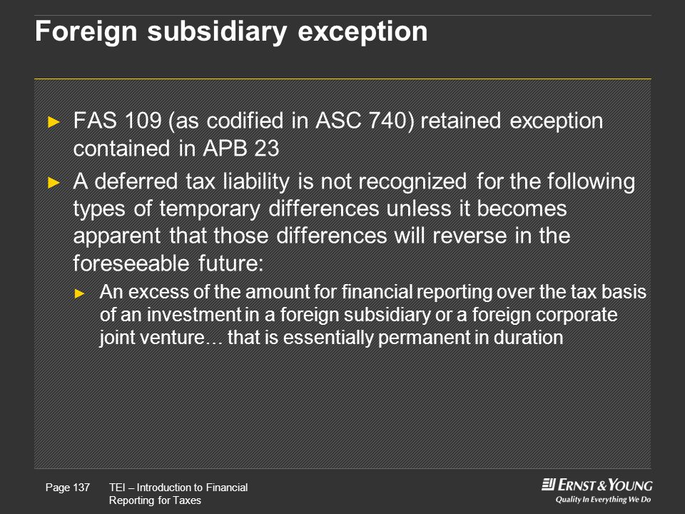 Foreign subsidiary exception