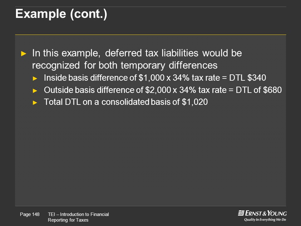 Example (cont.) In this example, deferred tax liabilities would be recognized for both temporary differences.