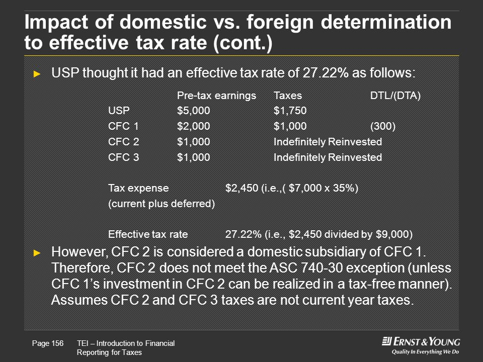 Impact of domestic vs. foreign determination to effective tax rate (cont.)