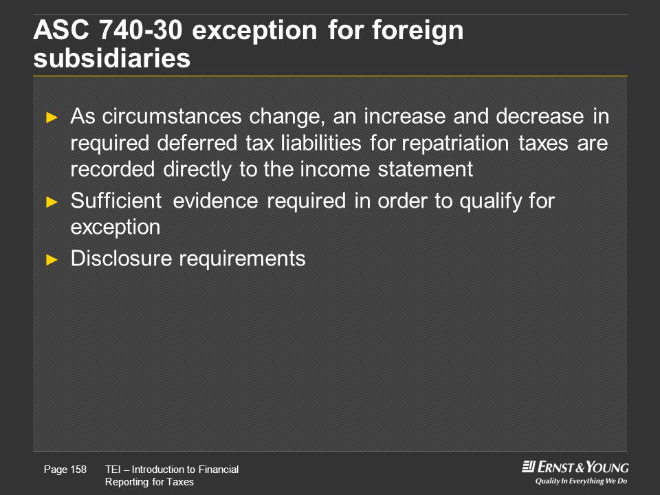 ASC 740-30 exception for foreign subsidiaries