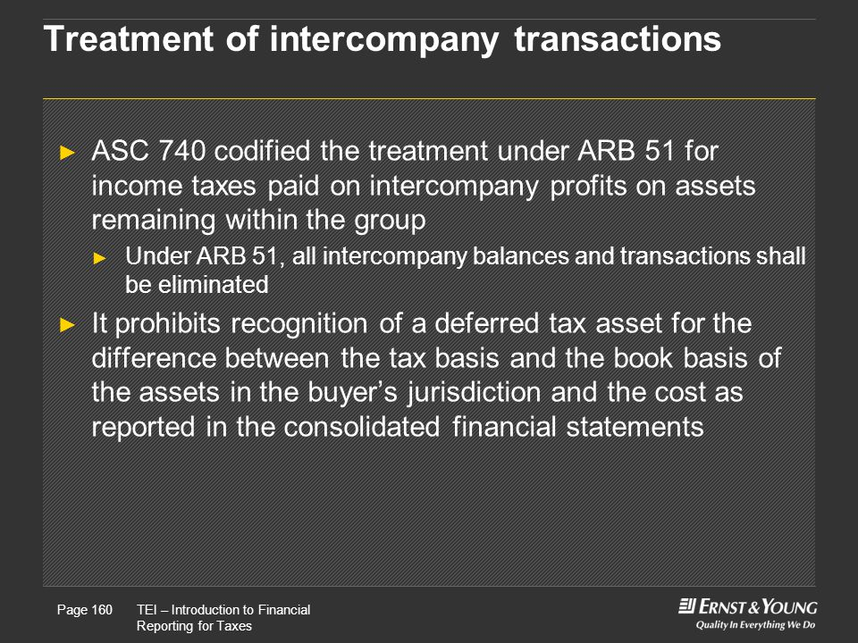 Treatment of intercompany transactions