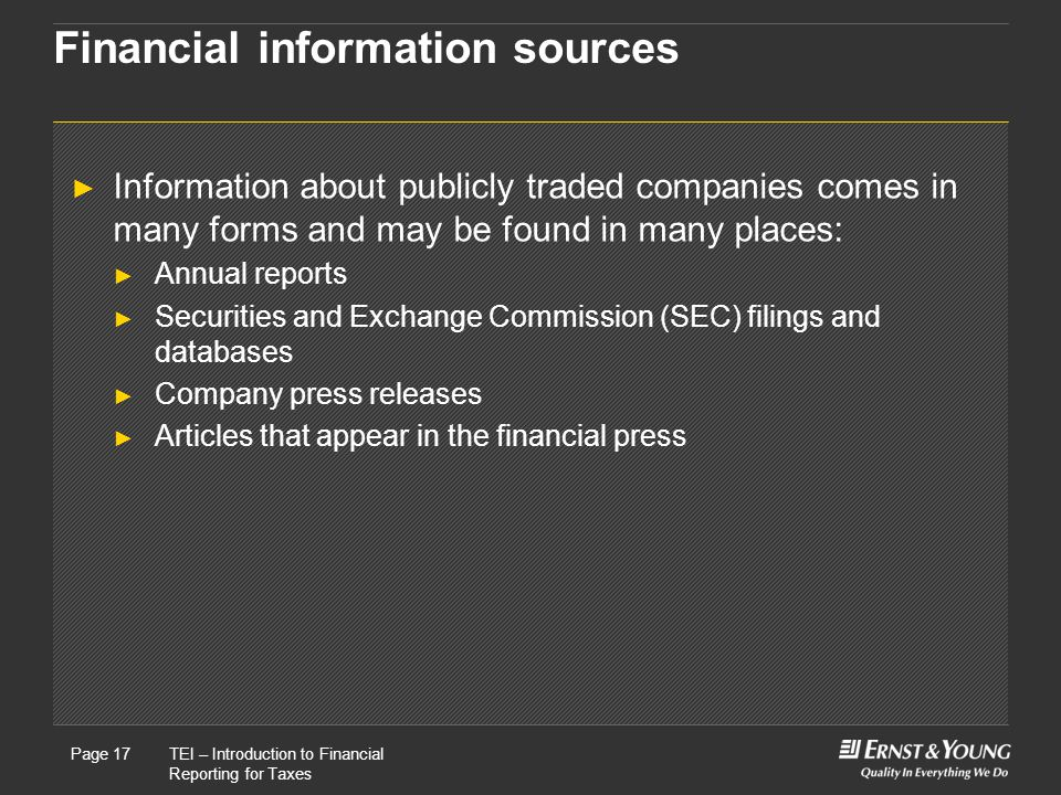 Financial information sources