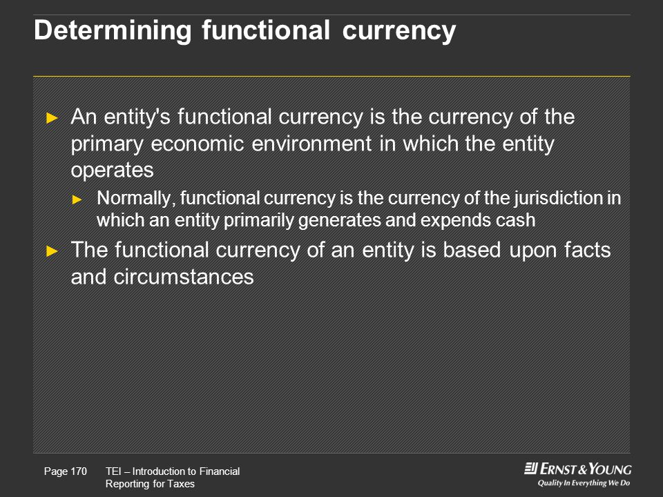 Determining functional currency