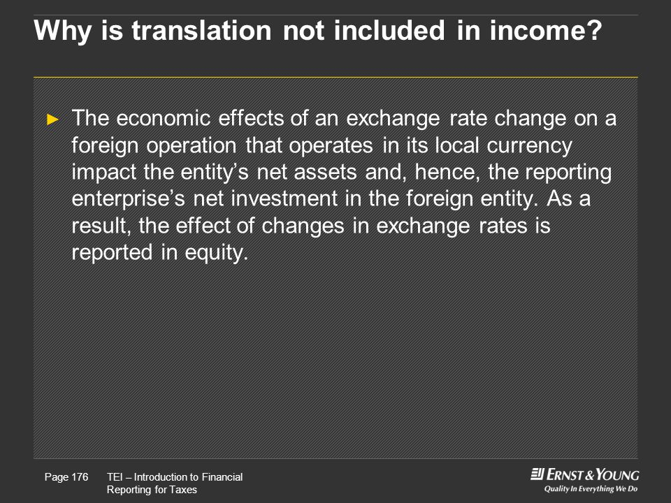 Why is translation not included in income