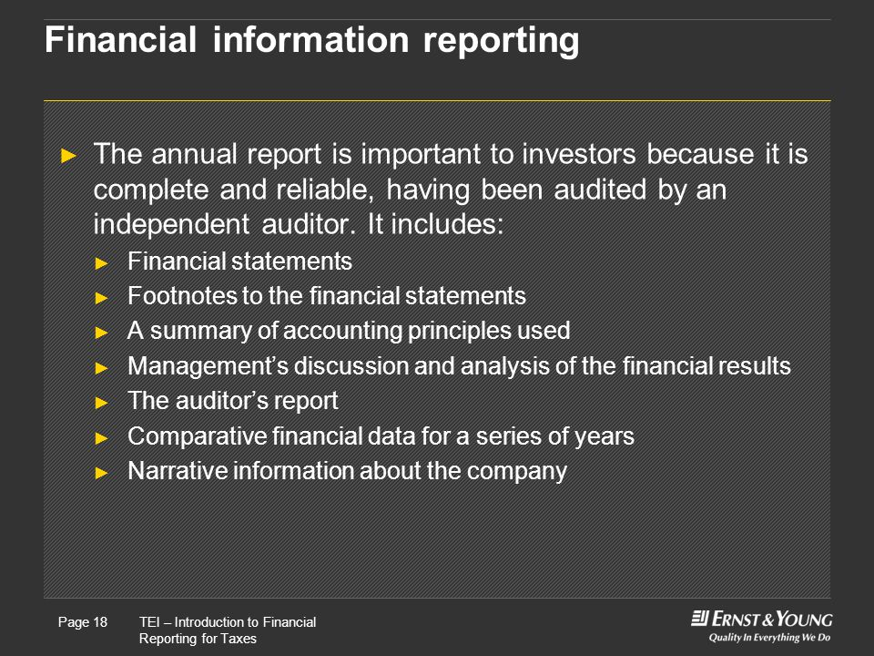 Financial information reporting
