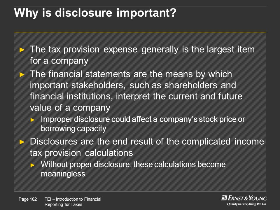 Why is disclosure important