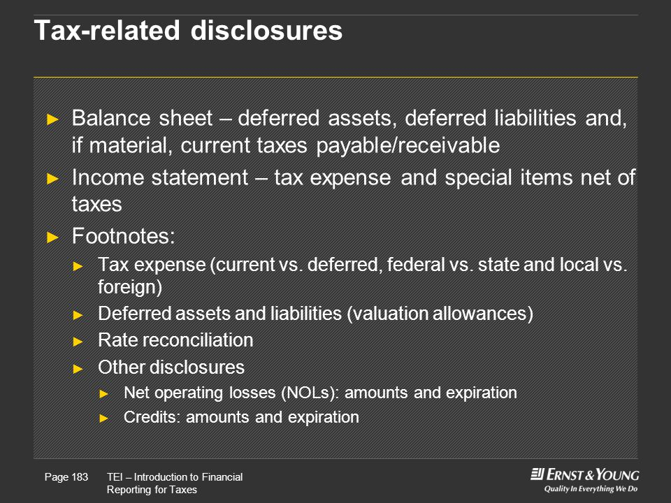 Tax-related disclosures